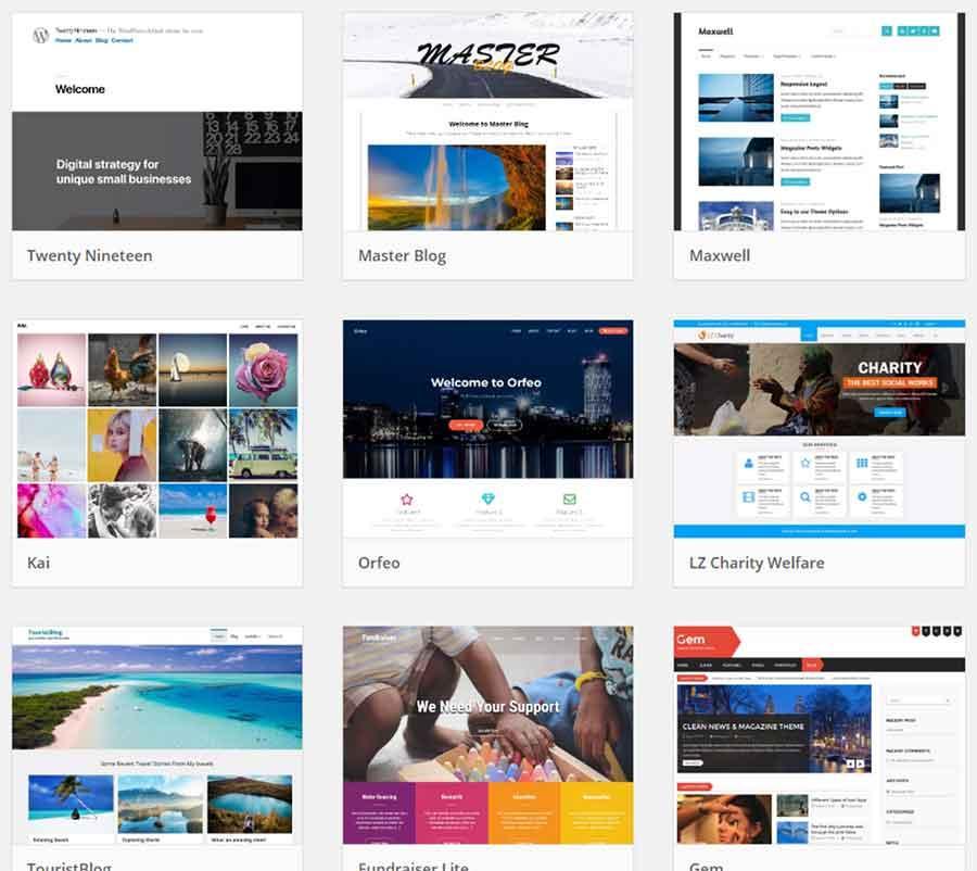 Wordpress Template Selection